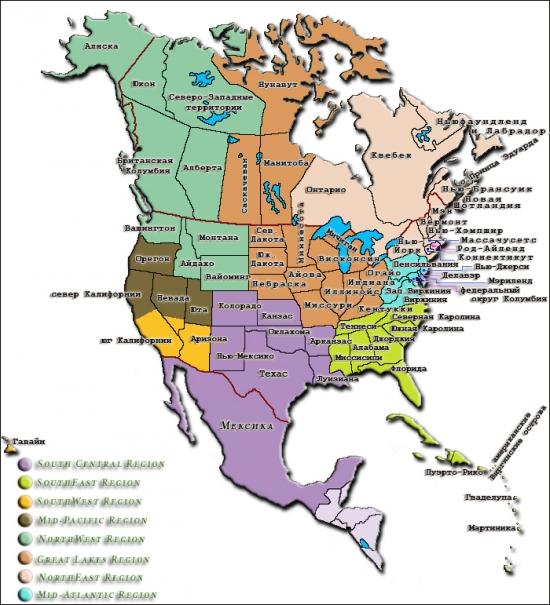 Регионы TICA в Северной Америке