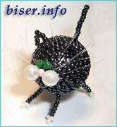 Объемный котик из бисера