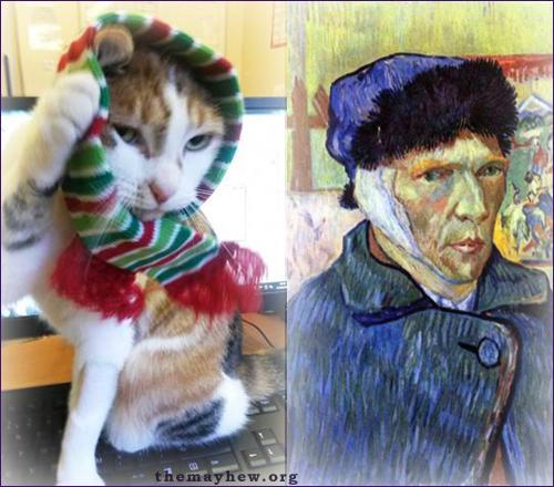 Одноухая кошка Ван Гог рисует шедевры