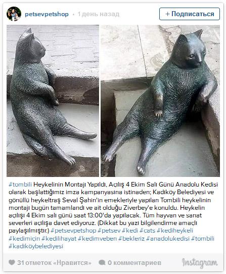 Памятник коту-философ Томбили