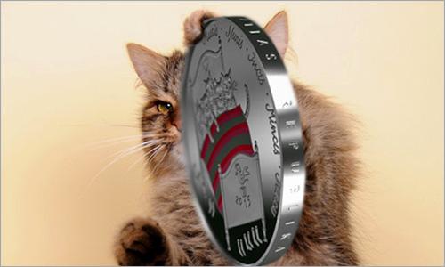 Монета с котами