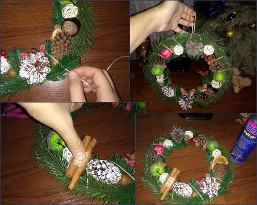 Рождественский новогодний венок своими руками